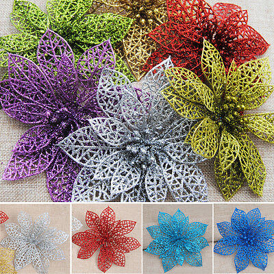 5/10pcs Christmas Flowers Butterflies Xmas Tree Party Decorations Glitter Hollow