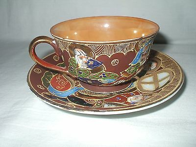 Tea Cup & Saucer Painted Made In Occupied Japan Painted People Pattern w/ Gold