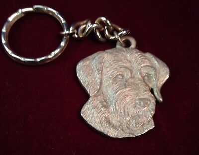 I love my German Wirehaired Pointer 1983 RAWCLIFFE PEWTER  MEDAL KEYRING NOS