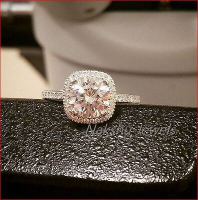 2Ct Off White Moissanite Round cushion Halo Engagement Ring 925 Sterling Silver