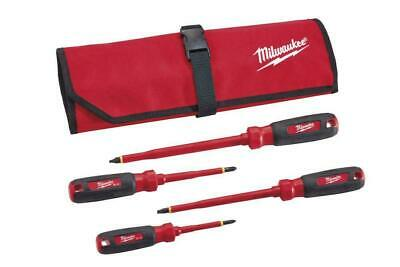 Milwaukee 48-22-2204 4 PC 1000V Insulated Screwdriver Set w/Roll Pouch Bag
