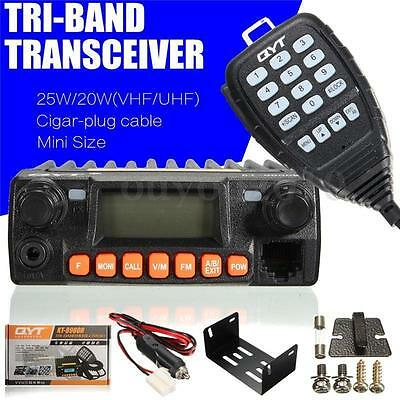 QYT KT8900R Tri band car mobile radio 136-174 240-260 400-480 Mhz with hand mic