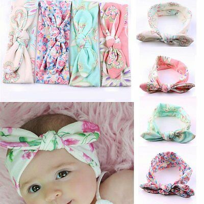 AU 4PCS Baby Kids Toddler Headband Girls Bow Flower Turban Knot Rabbit Hair Band