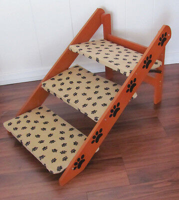 Adjustable 3 Step Pet Stairs with Paw Print Fabric