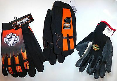 HARLEY DAVIDSON MECHANIC FLAMES #1, RACING, RUBBER DIPPED KNIT GLOVES Assort Sz