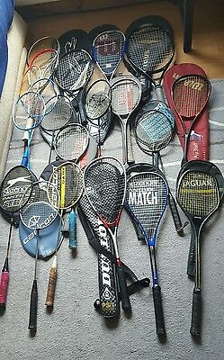 massive collection of tennis squash badminton rackets