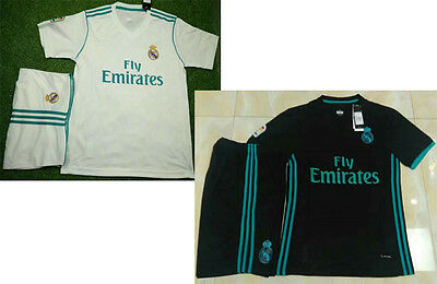 17 18 Real Madrid away black soccer uniforms white football sets sports jerseys