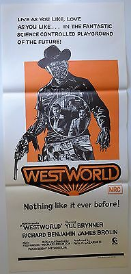 Westworld Rare Original Australian Movie Daybill Poster Yul Brynner