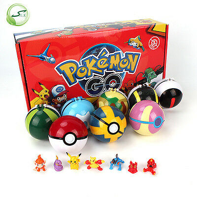 HOT 8 Pcs Pokemon Ball + 8pcs Figure Random Cosplay Pop-up BALL 7cm Cartoon Toy