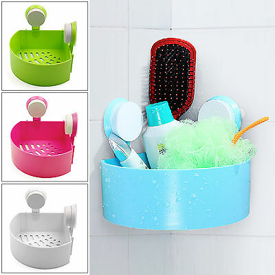 Suction Rack Bathroom Corner Shelf Organizer Tidy Cup Storage Shower Wall Basket