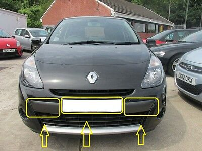 "Renault Clio Front Bumper Molding Set 3 Pieces 15"" & 16"" Wheel Model 2009-2012"