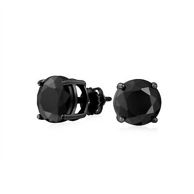 Simulated Onyx CZ Screw Back Post Stud earrings 925 Sterling Silver 6mm
