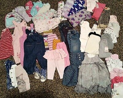 Huge 50 Pc Lot of Baby Girl 6-9 Month Clothes Summer Fall Sleepers Outfits