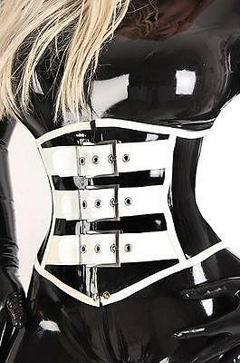 100% Latex Rubber Gummi Corset 1.0mm Underbust Catsuit Suit With Stripes Lace up