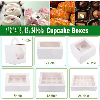 Cupcake Boxes Range 1 2 4 6 12 24 Hole Window Face Cases Party Wedding Xmas Gift