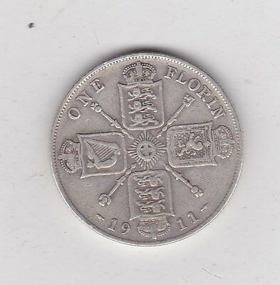 1911 George V Silver Florin In A Used Fine Condition