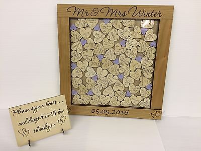 Personalised luxury cherrywood lilac heart drop box wedding guest book gift