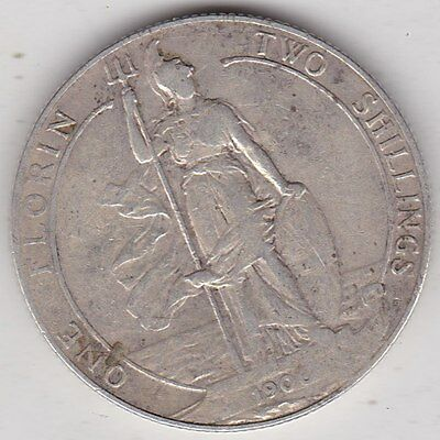 1906 Edward Vii Silver Florin In A Used Fine Condition
