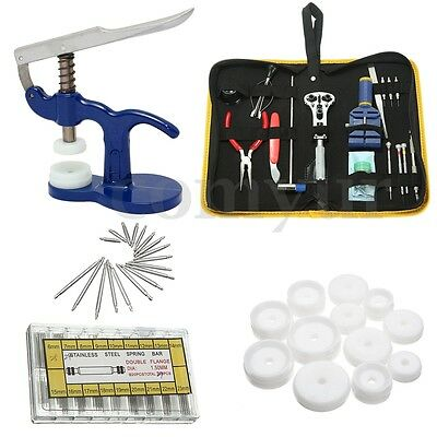 Watch Repair Tool Kit Back Case Opener Remover Spring Pin Crystal Glass Fitting