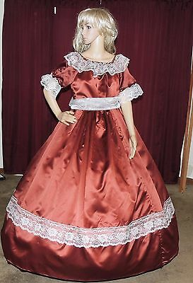 CIVIL WAR REENACTMENT DICKENS PIONEER VICTORIAN Brown Satin Costume Dress Gown