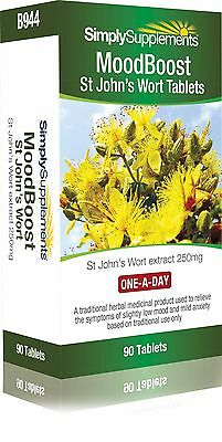 St. John's Wort MoodBoost * 90 Tablets * MHRA Approved Product * 90 Day Supply
