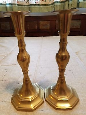 "Vintage Brass Candlestick Holders (Set Of 2) - Original Patina ~ 6 3/4"" Tall"
