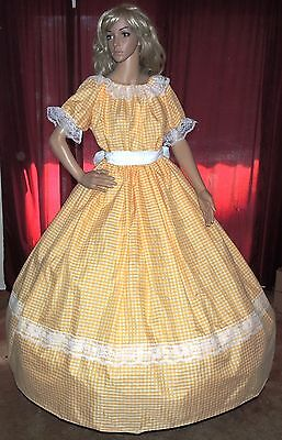 CIVIL WAR SOUTHERN BELLE SASS PIONEER VICTORIAN Yellow Check Costume Dress Gown