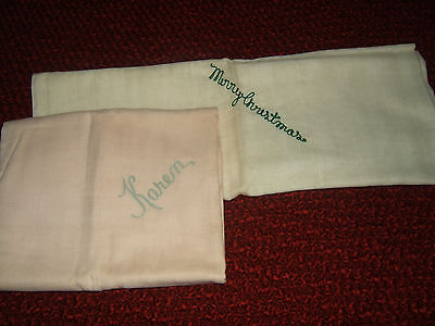 2 Vintage Nib Cloth Diapers Embroidered 'karen' & 'merry Christmas'-Neiman Marcu