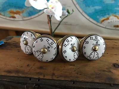 10x French Clocks Ceramic Door Knobs Furniture Drawer Cabinet Kitchen Handles