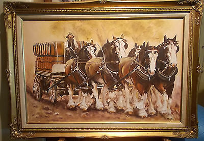 OIL PAINTING, CLYDESDALE BREWERY HORSE TEAM. Original by Iris Noble, of Sth Aust