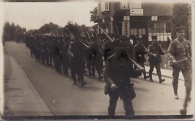 Soldier Group City of London Regiment Royal Fusiliers marching along street