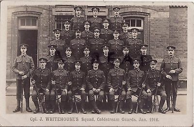 WW1 soldier group Cpl J Whitehouse & squad Coldstream Guards Jan 1916