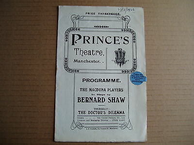 1926 Princes Theatre, Manchester - The Doctor's Dilemma by Bernard Shaw