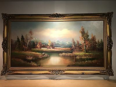 Vintage oil on canvas painting signed  H.Ross