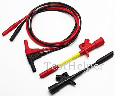 Silicone Test Leads Banana Socket Connect Wire Duty Piercing Probe Clip Testing