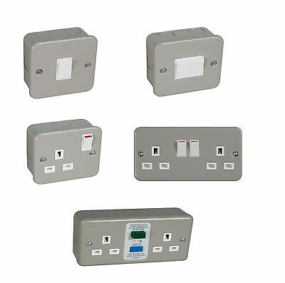 Metal Clad Electrical Sockets Switches With Back Box Garage Workshop Warehouse