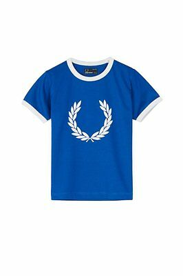 Fred Perry boys royal blue large logo t shirt age 6-7 years