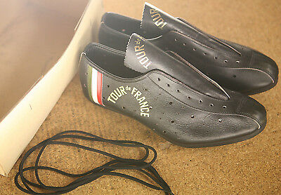 Vintage NOS NEW Tour de France black perforated leather cycling shoes eroica 40