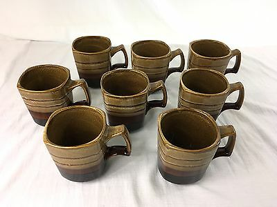 Set of 8 Gourmet Expressions Canyon Trail Brown Stoneware 4 in. Coffee Cups Mugs & SET OF 8 Gourmet Expressions Canyon Trail Brown Stoneware 4 in ...