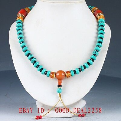 100%Chinese turquoise & Beeswax Handwork Decoration Necklaces XL076