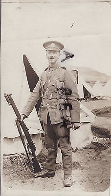 WW1 soldier Royal Engineers full battle order in tented camp