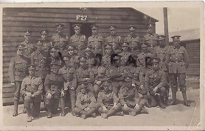 WW1 soldier group NCOs & Men Royal Berkshire Regiment in hutted camp