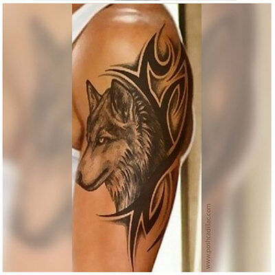 a060a41f50a5d Big Temporary Waterproof Tattoo Black Detailed Realistic Forest Tree Lycos  Wolf.