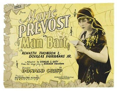 Hollywood Actress Marie Prevost In Man Bait Silent Movie Poster