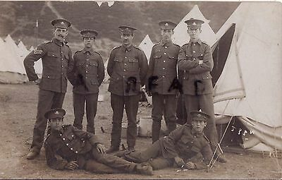 WW1 soldier group Worcesters Worcestershire Regiment in tented camp