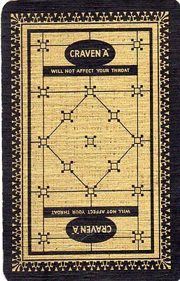 "RARE VINTAGE ""Craven A (Black/Gold Card) Cigarettes"" SINGLE Playing Card"
