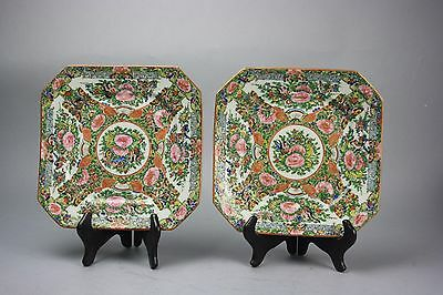 19th/20th C. Chinese Pair Rose Medallion Dishes