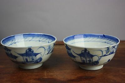19th/20th C. Chinese Pair Blue And White Bowls