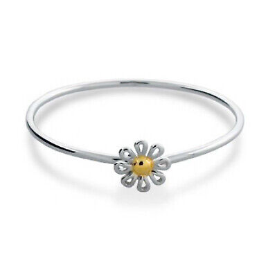 Delicate Two Tone Gold Plated Daisy Flower Bangle Bracelet 925 Sterling Silver