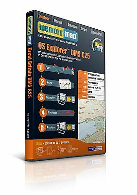 Memory-Map OS Explorer 2014 1:25,000 Scale GB Maps - 1500 Sqkm #MISC-475